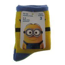 Minions Infant Boys' Crew Socks, Pack of 3 12-24 months