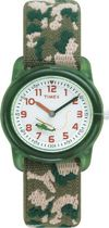 Timex® Kids Green Case White Dial Camouflage Strap Quartz Analog Watch