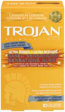TROJAN® Naked Sensations® Ultra Ribbed - 10 Lubricated Latex Condoms