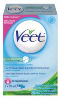 Veet Hair Removal Cream & Gentle Finishing Cream - Sensitive Skin - Facial Kit- 2x50mL