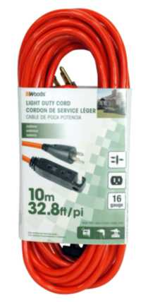 Woods Light Duty Cord with Triple Outlet