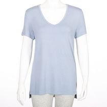George Women's Dressy V-neck Tee Blue L/G
