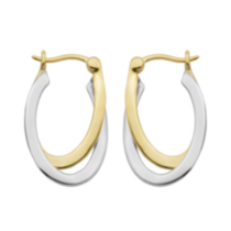 Sterling Silver Two-Tone Criss-Cross Hoop Earring