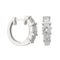 Sterling Silver Rhodium Plated Cubic Zirconia Inside-Out Oval Twist Hoop Earrings