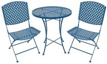 Henryka 3-Piece Bistro Set - Blue Honeycomb Design