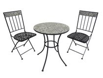 Henryka 3-Piece Bistro Set with Mosaic Table Top - Grey