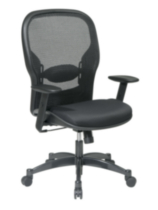 Office Star Professional Black Breathable Mesh Back Chair with Mesh Fabric Seat