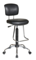 Office Star Chrome Finish Economical Chair with Chrome Teardrop Footrest