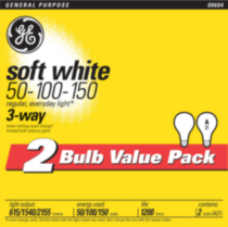 GE 50/100/150 Soft White Trilight 2pk