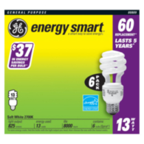 GE Energy Smart 13W Soft White CFL 6pk
