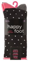 Happy Foot by McGregor Womens' 3 Pair Roll Top Crew Socks  Black