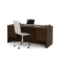 Prestige + Executive Desk with Dual Half Pedestals Dark Brown