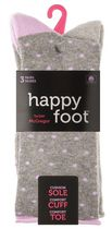 Happy Foot by McGregor Womens' 3 Pair Roll Top Crew Socks Grey