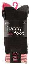 Happy Foot by McGregor Womens' 3 Pair Honeycomb Roll Top Crew Socks  Black