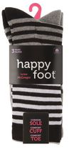 Happy Foot by McGregor Womens' 3 Pair Colour Block Stripe Crew Socks White
