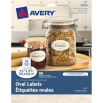 "Avery ® Print-to-the-Edge Oval Labels 22814, Glossy White, 1-1/2""x 2-1/2"""