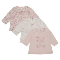 George British Design Baby Girls' 3Pk Cat Tops 3-6 months