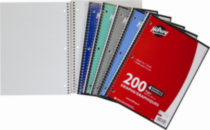 Hilroy Notebook Quad, 1 Subject, 200 Page, 10-½ x 8, Assorted Colours