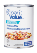 Great Value No Salt Added Six Bean Mix Can
