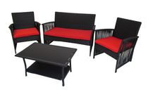 Henryka 4-Piece Conversation Patio Set - Black
