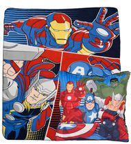 Avengers Fleece Throw and Decorative Cushion
