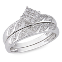 Miabella 1/10 CT TDW Round Diamond Bridal Ring Set in Sterling Silver (G-H; I2-I3) 7