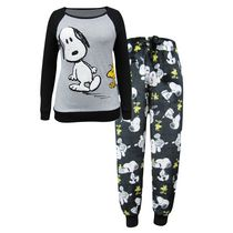 Peanuts Junior Ladies' Lounge Wear 2 Piece Surprised Snoopy Sleep Set XL