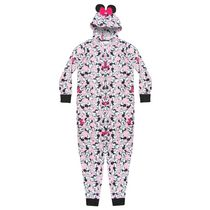 Disney Junior Ladies' Lounge Wear Happy As Minnie Unionsuit Zip Onesie L