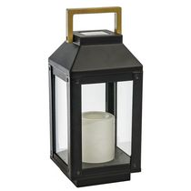 Paradise GL29968BK Solar Metal Lantern and Flameless Outdoor LED Candle
