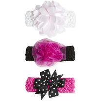 A D Sutton Pretty Baby Headband Set- Hot Pink, 3 Pieces