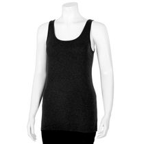 George Women's Scoop Neck Rib Tank Top Black XXL