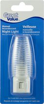 Great Value Incandescent bulb with manual on/off switch; clear ribbed shade; 1pk