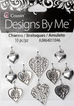 10pc Antique Silver Heart Charm Set