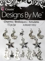 15pc Silver Moon & Star Charm Set