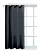 Faux Silk Window Panel with Grommets Black