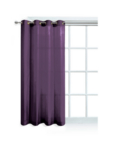 Faux Silk Window Panel with Grommets Purple