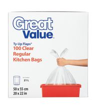 Great Value Ty-Up Flaps Clear Regular Kitchen bags
