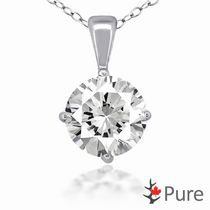 "Pure 2.00 Carat 8mm CZ Round 4-Claw Pendant, in Sterling Silver with 18"" Chain"