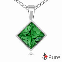 "Pure 3.00 Carat 8mm Emerald CZ Square Diamond Shaped Bezel Pendant, in Sterling Silver with 18"" Chain"