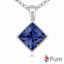 "Pure 3.00 Carat 8mm Blue Sapphire CZ Square Diamond Shaped Bezel Pendant, in Sterling Silver with 18"" Chain"