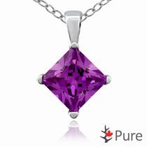 "Pure 3.00 Carat 8mm Amethyst CZ Square Diamond Shaped 4-Claw Pendant, in Sterling Silver with 18"" Chain"