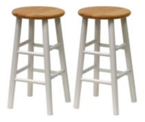 Beveled seat Stools White