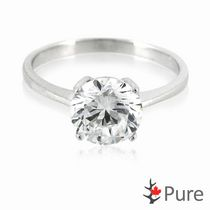 "Pure Brilliant Cut CZ ""Hearts and Arrows"" Solitaire 4-Prong Sterling Silver Ring 6"