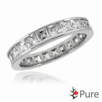 Pure Square Cut Cubic Zirconia Eternity Ring set in Sterling Silver 7