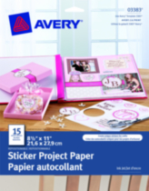 "Avery® Sticker Project Paper 8-1/2"" x 11"" Pack of 15"