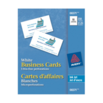 Avery® Business Cards for Inkjet Printers 8371, White, Matte, Pack of 250