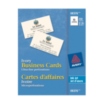 Avery® Business Cards for Inkjet Printers 8376, Ivory, Matte, Pack of 250
