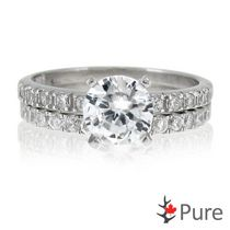 Pure 1 Carat T.G.W. 6.5mm Round CZ Ring Set with Round Accents set in Sterling Silver 8