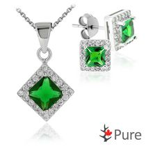 "Pure CZ Emerald Square Pendant and Earring Set, in Sterling Silver with 18"" Chain"