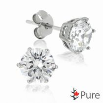 Pure CZ 6mm 6-Prong Stud Earrings, in Sterling Silver
